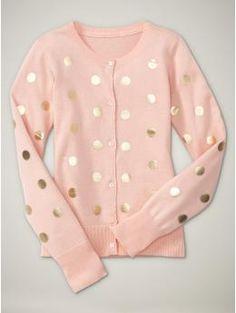 Foil dot cardigan:: Blush and Gold::: Polka Dots:: Vintage Fashion:: Retro Style