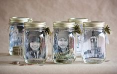 Personalized mason jar saving jars- put a picture of what you're saving up for inside so you remember why it's important!