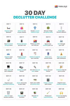 declutter challenge- sadly some of these single day activities would each. declutter challenge- sadly some of these single day activities would each take me 30 days to House Cleaning Tips, Spring Cleaning, Cleaning Hacks, Daily Cleaning, Deep Cleaning Lists, Cleaning Checklist, Diy Hacks, Squat Challenge, 30 Day Challenge