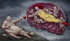Post with 34 votes and 1288 views. Tagged with funny, art, creepy, drawings, horror; American version of the painting: creation of Adam. painted by Michelangelo. Art And Illustration, Perspective Artists, Satirical Illustrations, Art Illustrations, Ugly Faces, Powerful Art, Banksy, Oeuvre D'art, Great Artists