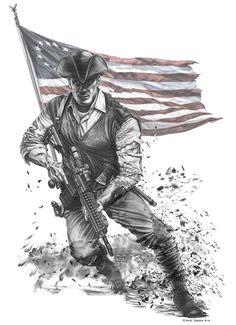 drawing half 1776 Patriot and half marine - Google Search