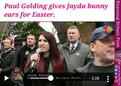 Paul Golding gives Jayda Fransen bunny ears 3 In One, Just For Laughs, Laughing, Britain, Ears, Bunny, Baseball Cards, Fringes, Hare