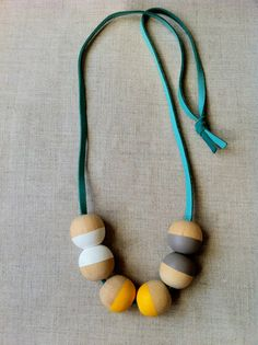 Modern Geometric Wood Bead Necklace by thislovesthat on Etsy, $20.00