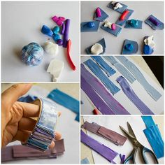 FREE TUTORIAL: Stripes bracelet tutorial by Anna Jour, via Flickr ניצול שאריות פימו. יש לה הרבה רעיונות.