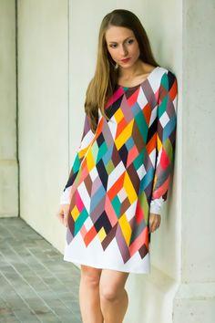 Modern Geometric Tunic Dress