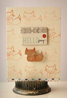 Hello Foxy | Card, by Suz Mannecke  using the Momento collection from www.cocoadaisy.com #cocoadaisy #scrapbooking #kitclub #cards #stamping #ombre #fox