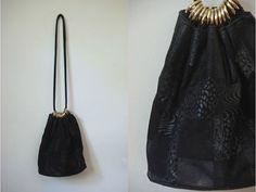 Vtg Suede Paisley Animal Print Black Gold Rings by LuluTresors, $29.99
