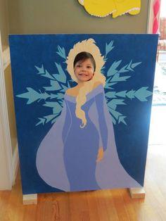 DIY princess Elsa party photo prop on a foam board