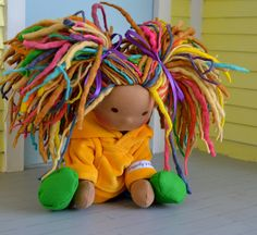 Waldorf doll colorful dreadlocks