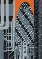 The Gherkin from Lloyds (red) - Jennie Ing Buy Prints, Prints For Sale, Architectural Prints, Paper Tags, London Art, Environmental Art, Linocut Prints, Urban Art, Lovers Art