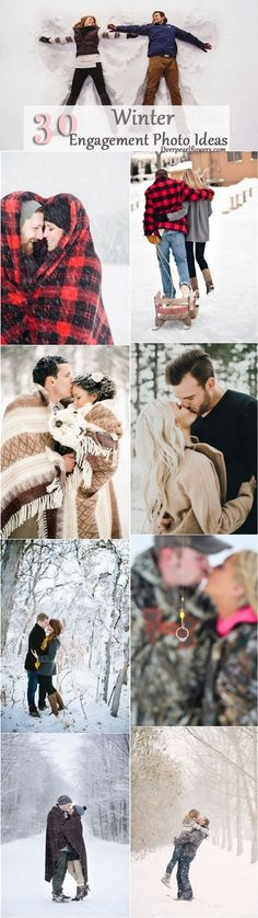 Not a lot of brides choose a winter wedding, but some couples choose winter engagement photos to capture the winter wonderland that awaits them outdoors.  Thankfully, even when the weather is frightful, snow can make for a gorgeous photo backdrop: http://www.deerpearlflowers.com/winter-engagement-photo-ideas/2/