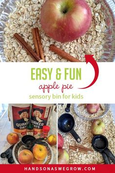 Super easy sensory bin that promotes busy play, pretend play, and hands on fun for all five senses. Create this simple apple pie sensory bin activity for toddlers and preschoolers to do at home!