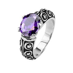 Get This At 75% Off Here Today #BuyBlueSteel #Ring #Purple #CZRing #EngagementRing #Women