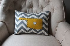 State of Oklahoma pillow. I this is from Etsy, but you know me...I'm going to try to make one! :-D
