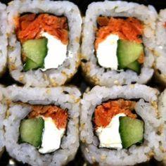 Seattle Roll- Cucumber, avocado, raw salmon, and smoked salmon.