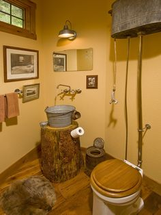 Had to add this - too funny!  Maybe I should go for a rustic outhouse look?  Shower could have a hose with a tin can showerhead!  Powder Room Design, Pictures, Remodel, Decor and Ideas - page 33