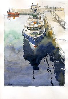 Iain Stewart Rothesay Harbour Reflections- Scotland. Watercolor sketch.