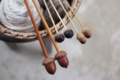 Mrs Josephine Rabbit's knitting needles? what a cool idea for use of our acorns.