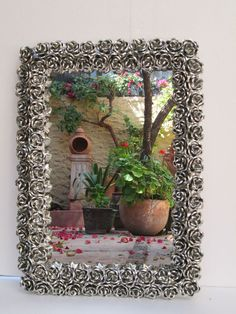 TIN MIRROR flowers rose roses   handmade mexican folk art punched mirrors wall #Handmade #Southwestern :D