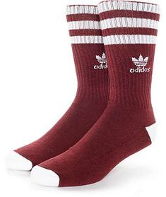 89a1eba9a94a adidas Originals Roller Burgundy   White Crew Socks Tube Socks