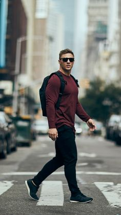 Keeping it casual. Steve Cook wearing the Solace Longline Long Sleeve T-Shirt in Port.