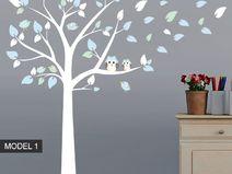 Autocollant Muraux Arbre de Hibou et Oiseaux