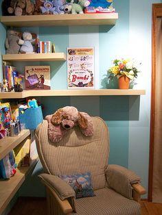 IKEA LACK shelves. great kids reading corner.