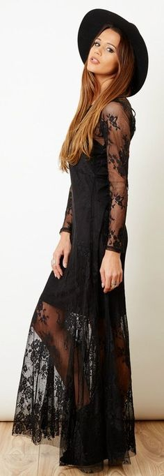 Black Lace Long Sleeve Maxi Dress #fashion #women #women-fashion  #trends #blackness #black #long #sleeve #dress #maxi #ideas #clothing #style #party-dress #collections