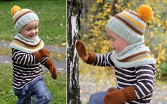 Kindergarten-kit: Hat, neckwarmer and mittens - Pickles Free pattern ages 1 to 6 years