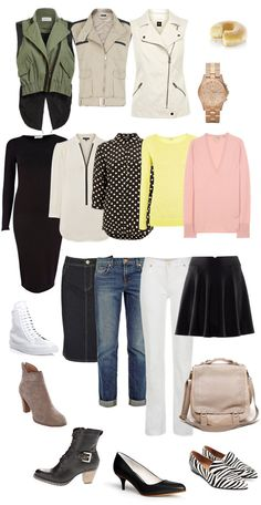Casual Vest Ensemble.  All three vests can be worn over each of the tops. And those combinations can be matched with any of the bottoms and pairs of shoes.