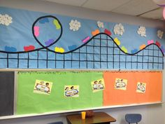 Easy VBS Decorations Carnival Classroom, Classroom Birthday, Classroom Themes, 5th Birthday, Birthday Ideas, Vbs Themes, School Themes, School Ideas, Roller Coaster Decorations