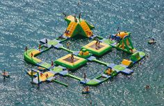 lake houses, obstacle course, water fun, dream, lake party