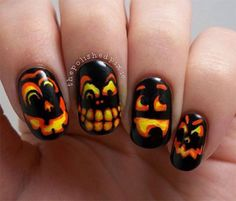Scary-Halloween-Pumpkins-Nail-Art-Designs,-Ideas-and-Trends