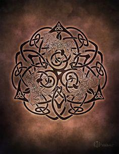 Enchanting Equine Celtic Horse Triskele Knotwork - Pagan Wiccan Print - Brigid…