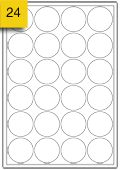 24 round removable labels per A4 sheet