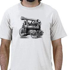 Steam Engine Vintage Illustration Shirt and Gifts.
