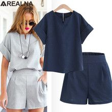 2020 Women Summer Style Casual Cotton Linen Top Shirt Feminine Pure Color Female Office Suit Set Women's Costumes Hot Short Sets Suits For Women, Clothes For Women, Casual Tops For Women, Ladies Tops, Women's Summer Fashion, Summer Fashions, Summer Outfits, Summer Shorts, Cotton Linen