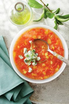 No Cook Meals: Peach-and-Tomato Gazpacho with Cucumber Yogurt