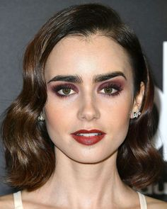 Lily Collins' long wavy bob is the stuff of hair dreams.