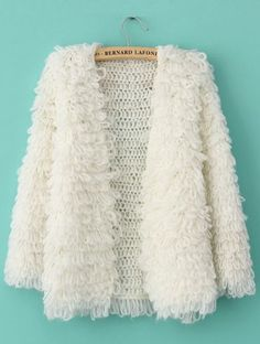 Beige Long Sleeve Shaggy Slim Cardigan Sweater