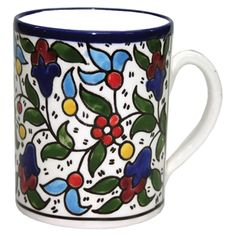Coffee Mug - Flowers (Classic). Armenian Ceramic