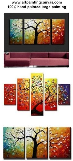 Extra large hand painted art paintings for home decoration. Large wall art, canvas painting for bedroom, dining room and living room, buy art online. Tree Of Life Painting, Hand Painting Art, Large Painting, Online Painting, Painting Canvas, Paintings Online, Acrylic Canvas, 3 Piece Canvas Art, 3 Piece Wall Art