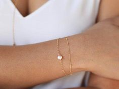 Dainty Pearl Bracelet / Gold Satellite Bracelet / Gold Filled Bracelet / Thin Gold Bracelet / Gold Layering Bracelet / Bridesmaid Gift - Brad, buy this - Jewelry Thin Gold Bracelet, Dainty Bracelets, Layered Bracelets, Diamond Bracelets, Ankle Bracelets, Bracelet Set, Sterling Silver Bracelets, Jewelry Bracelets, Silver Jewelry