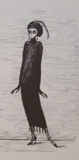 Like the hat and good inspiration for her body.  Also like the silhouette of the dress. Source: Image result for edward gorey illustrations