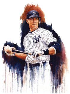 Yankees News, New York Yankees Baseball, Ny Yankees, Baseball Posters, Baseball Art, Alex Rodriguez, Mlb Players, Sports Art, Painting & Drawing