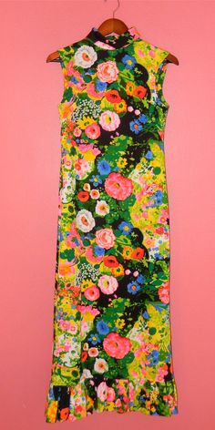 Vintage Maxi Dress 70s Bright Floral Print by PinkCheetahVintage
