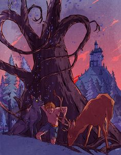 smvidaurri:  MISCHIEF MANAGED I wanted to illustrate a quiet moment as Lupin transforms back into a human under the Whomping Willow and his friends help him back to the castle.