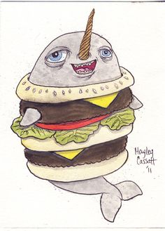 Narwhal Wearing a Cheeseburger Outfit by HayleyCassatt on Etsy, $26.00