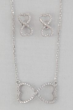 925 Sterling Silver Infinity Necklace and Earring Set