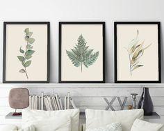 Botanical Print Set, Botanical Set of 3, Set of 3 Prints, Ferns, Gum Leaves, Australian Poster, Australian Nature, Downloadable Prin